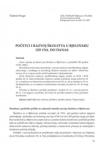Početci i razvoj školstva u Bjelovaru od 1761. do danas . : Radovi Zavoda za znanstvenoistraživački i umjetnički rad u Bjelovaru
