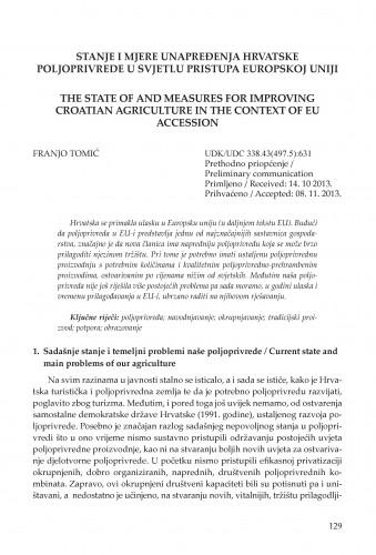 Stanje i mjere unapređenja hrvatske poljoprivrede u svjetlu pristupa Europskoj uniji : Civitas Crisiensis