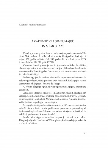 Akademik Vladimir Majer : in memoriam : Spomenica preminulim akademicima