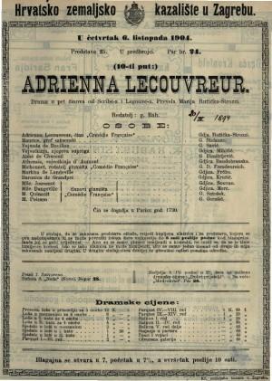 Adrienna Lecouvreur drama u pet činova / od Scribe-a i Legouvé-a