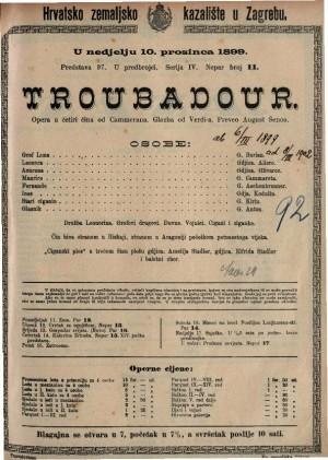 Troubadour opera u četiri čina / glazba od Verdi-a