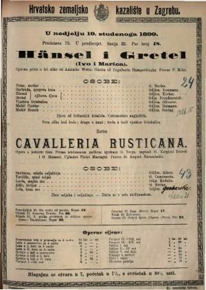 Hänsel i Gretel operna priča u tri slike / Glazba od Engelberta Humperdingka