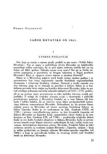 Sabor Hrvatske od 1861.