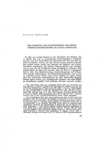 Der Ursprung der Pestepidemien und deren Vorbeugungsmethoden im Alten Dubrovnik