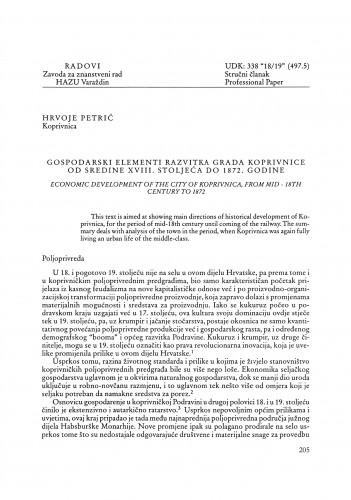 Gospodarski elementi razvitka grada Koprivnice od sredine XVIII. stoljeća do 1872. godine : Radovi Zavoda za znanstveni rad Varaždin