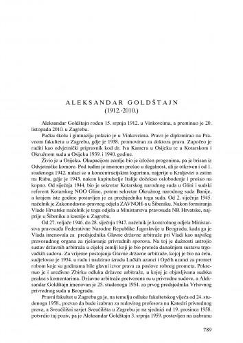 Aleksandar Goldštajn (1912.-2010.) : nekrolog : Ljetopis