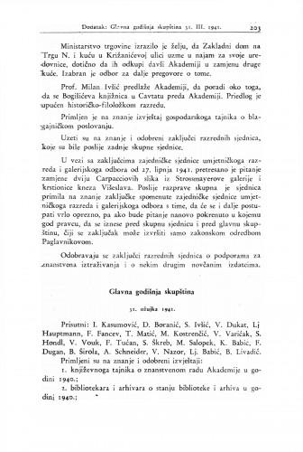Glavna godišnja skupština 31. ožujka 1941. : Ljetopis