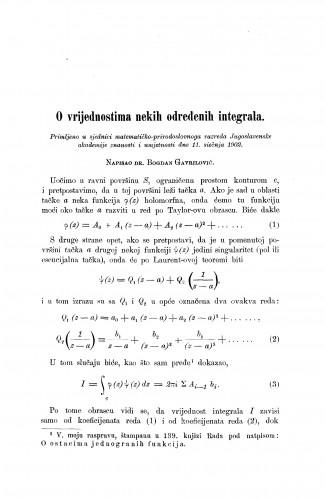 O vrijednostima nekih određenih integrala