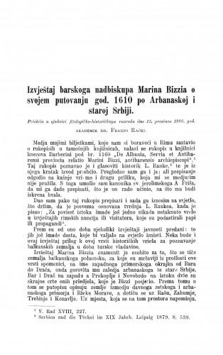 Izvještaj barskoga nadbiskupa Marina Bizzia o svojem putovanju god. 1610. po Arbanaskoj i staroj Srbiji / Franjo Rački
