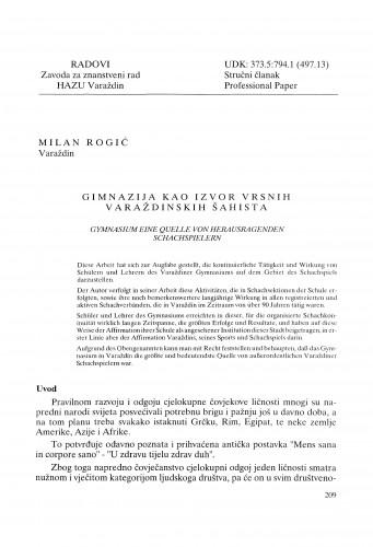 Gimnazija kao izvor vrsnih varaždinskih šahista : Radovi Zavoda za znanstveni rad Varaždin