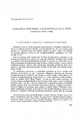 Agrarna reforma i kolonizacija u FNRJ godine 1945.-1948.