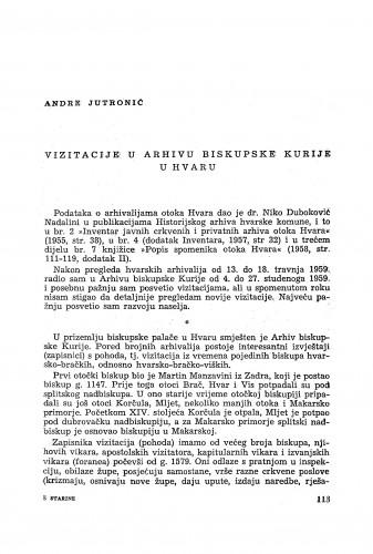 Vizitacije u Arhivu biskupske kurije u Hvaru / Andre Jutronić