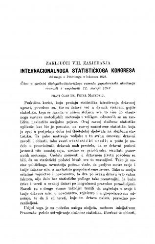 Zaključci VIII. zasjedanja internacionalnog statističkog kongresa držanog u Peterburgu u kolovozu 1872 : RAD