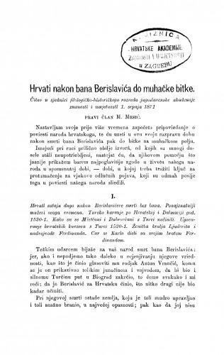 Hrvati nakon bana Berislavića do muhačke bitke : RAD