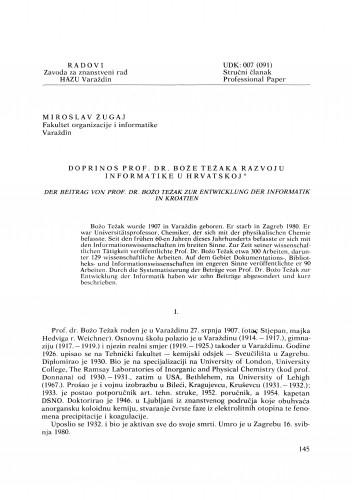 Doprinos prof. dr. Bože Težaka razvoju informatike u Hrvatskoj : Radovi Zavoda za znanstveni rad Varaždin