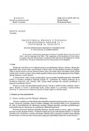 Proizvodnja pšenice u Županiji varaždinskoj krajem 19. i početkom 20. stoljeća : Radovi Zavoda za znanstveni rad Varaždin