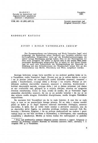 Život i djelo Vatroslava Jagića : Radovi Zavoda za znanstveni rad Varaždin