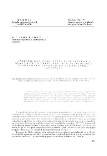 Zajednička zemljišta u Hrvatskoj i Slavoniji na prijelazu 19. u 20. stoljeće s posebnim osvrtom na Varaždinsku županiju : Radovi Zavoda za znanstveni rad Varaždin