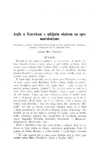 Jezik u Kerečkom s udiljnim obzirom na opće maćedonizme