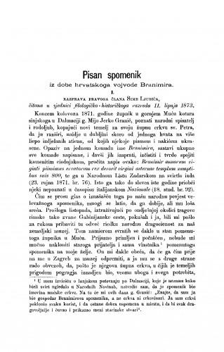 Pisan spomenik iz dobe hrvatskoga vojvode Branimira : 1. Razprava Sime Ljubića; 2. Razprava Franjo Račkoga : RAD