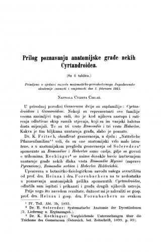 Prilog poznavanju anatomijske građe nekih Cyrtandroidea
