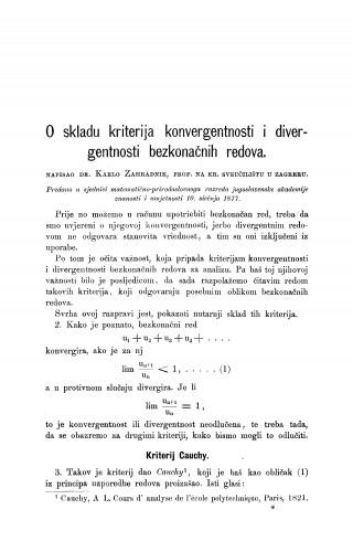 O skladu kriterija konvergentnosti i divergentnosti bezkonačnih redova : RAD