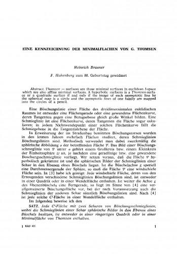 Eine Kennzeichnung der Minimalflaechen von G. Thomsen