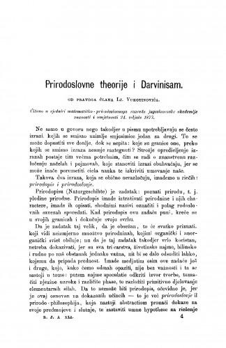 Prirodoslovne theorije i Darvinisam : RAD