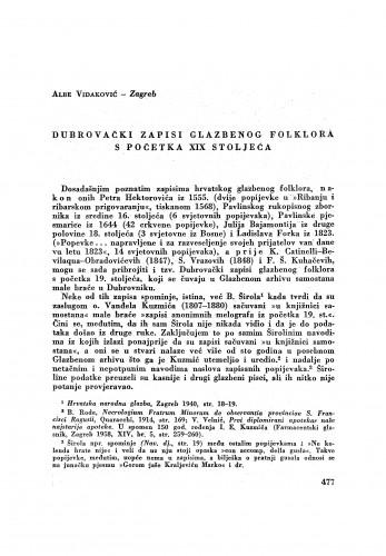 Dubrovački zapisi glazbenog folklora s početka XIX stoljeća / A. Vidaković