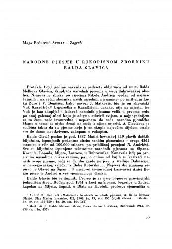 Narodne pjesme u rukopisnom zborniku Balda Glavića / M. Bošković-Stulli