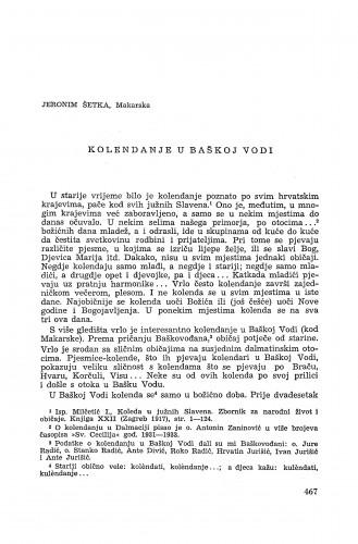 Koledanje u Baškoj Vodi / J. Šetka
