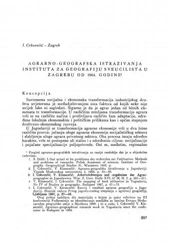 Agrarno-geografska istraživanja Instituta za geografiju Sveučilišta u Zagrebu od 1964. godine / I. Crkvenčić