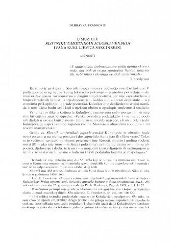 O muzici u Slovniku umjetnikah jugoslavenskih Ivana Kukuljevića Sakcinskog