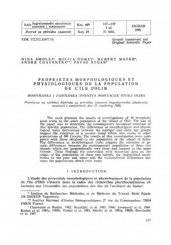 Propriétés morphologiques et physiologiques de la population de l'île d'Olib