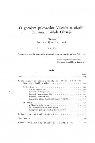O gornjem paleozoiku Velebita u okolini Brušana i Baških Oštarija