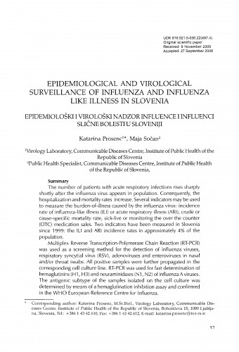 Epidemiological and virological surveillance of influenza and influenza like illness in Slovenia