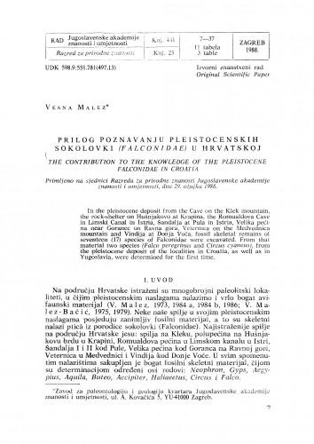 Prilog poznavanju pleistocenskih sokolovki (Falconidae) u Hrvatskoj