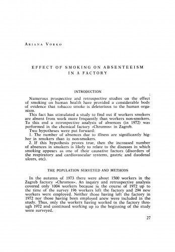 Effect of smoking on abseenteism in a factory