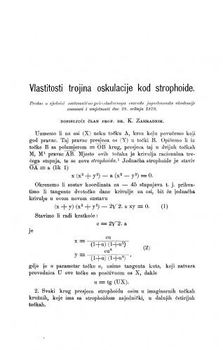 Vlastitosti trojina oskulacije kod strophoide : RAD