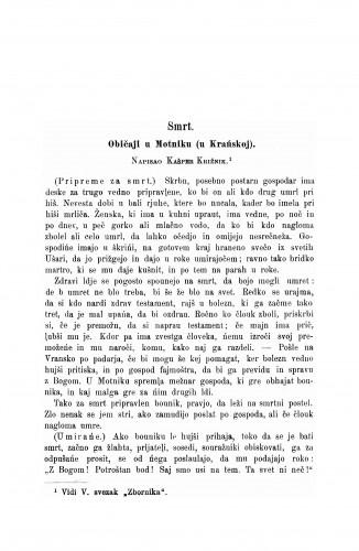Običaji u Motniku (u Krańskoj) : Zbornik za narodni život i običaje