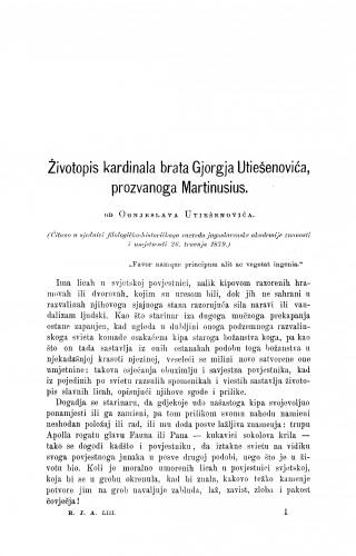 Životopis kardinala brata Gjorgja Utiešenovića, prozvanoga Martinusius : RAD
