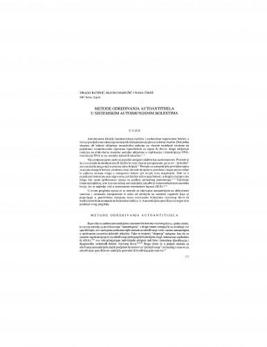 Metode određivanja autoantitijela u sistemskim autoimunosnim bolestima