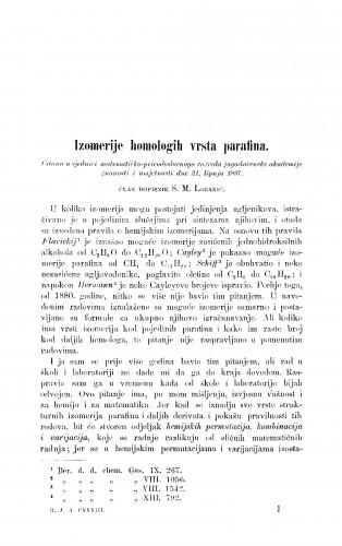 Izomerije homologih vrsta parafina
