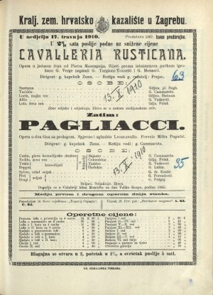Cavaellria rusticana ; Pagliacci Opera u jednom činu ; Opera u dva čina