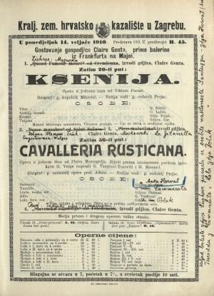 Ksenija ; Cavalleria rusticana : Opera u jednom činu: Opera u jednom činu / Prema istoimenoj noveli Giovannia Verge