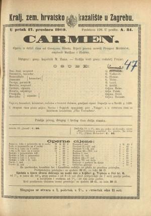 Carmen Opera u četiri čina / Prema istoimenoj noveli Prospera Mériméea