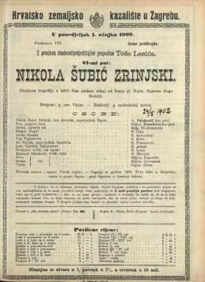 Nikola Šubić Zrinski Glazbena trageija u tri čina (sedam slika)