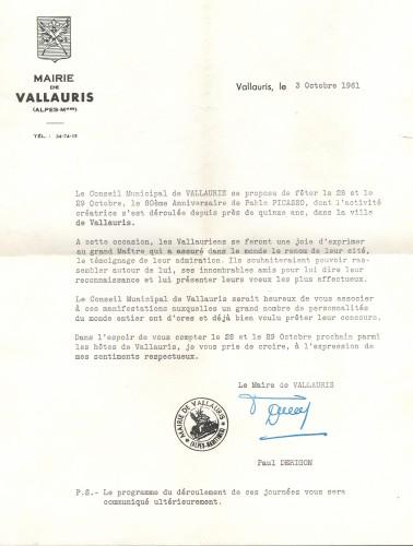 Službeni poziv gradonačelnika Paula Derigona na proslavu 80-tog rođendana Pabla Picassa upućen Vesni Barbić [Derigon, Paul  ]