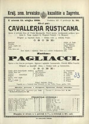 Cavalleria rusticana ; Pagliacci Opera u jednom činu ; Opera u dva čina s prologom