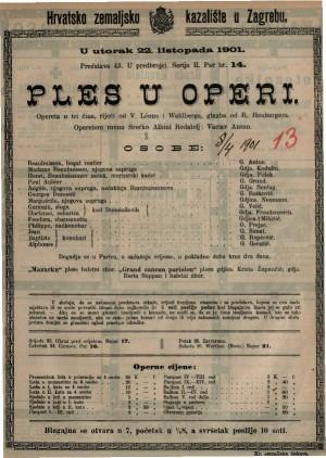 Ples u operi opereta u tri čina / glazba od R. Heubergera